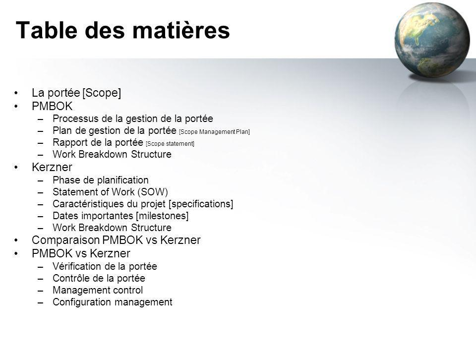 Table des matières La portée [Scope] PMBOK Kerzner